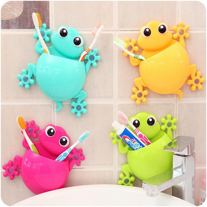 Hot New Cartoon Sucker Gecko Toothbrush Holder Wall Suction Hook Tooth Brush Holder Home Decor For Kids Bathroom Accessories