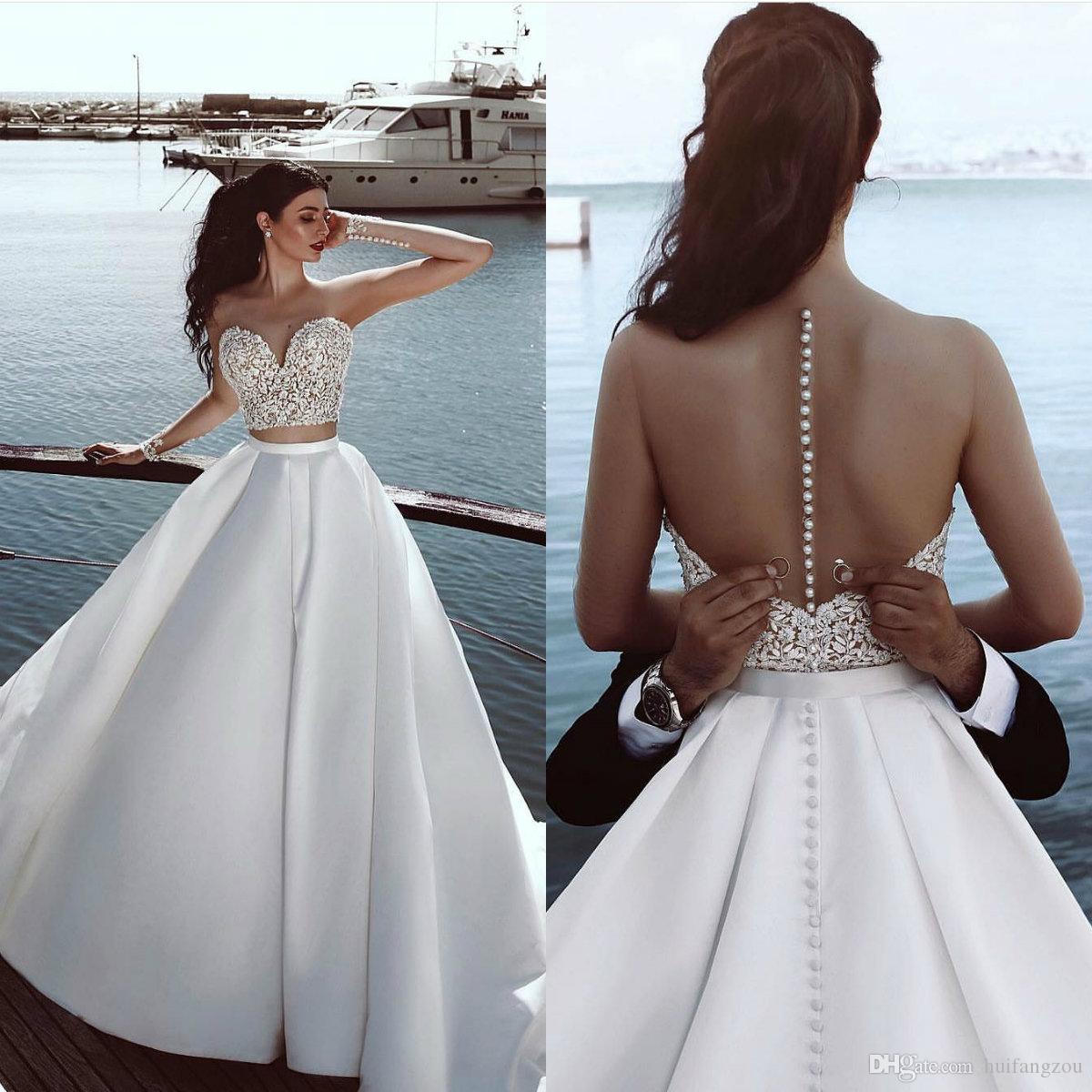 Großhandel Phantasie Zwei Stücke Hochzeitskleid Sommer Sweet Heart Sheer  Long Sleeves Bedeckt Tasten Brautkleider Sexy Brautkleider Von Huifangzou,