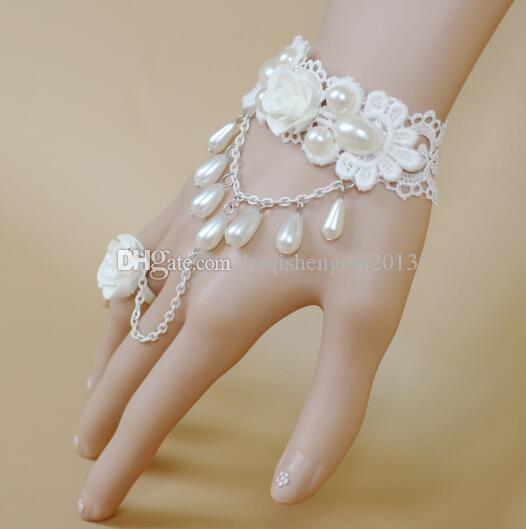 бесплатная доставка невеста корейская версия женский свадебное платье аксессуары принцесса девушка белая роза жемчужина кружева браслет кольцо мода classi
