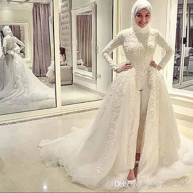 Muslim Wedding Jumpsuits Dresses Appliques Long Sleeve Lace Wedding Dress With Detachable Train Dubai Arabic Plus Bridal Gowns