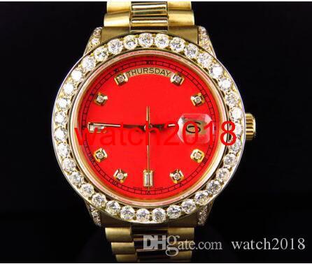 Najwyższej jakości Luksusowy Zegarek Męskie 41mm 18038 18K Żółty Złoto Daydate Red Dial Większy Diament Automatyczny Mechanicy Mężczyźni Zegarki New Arrival