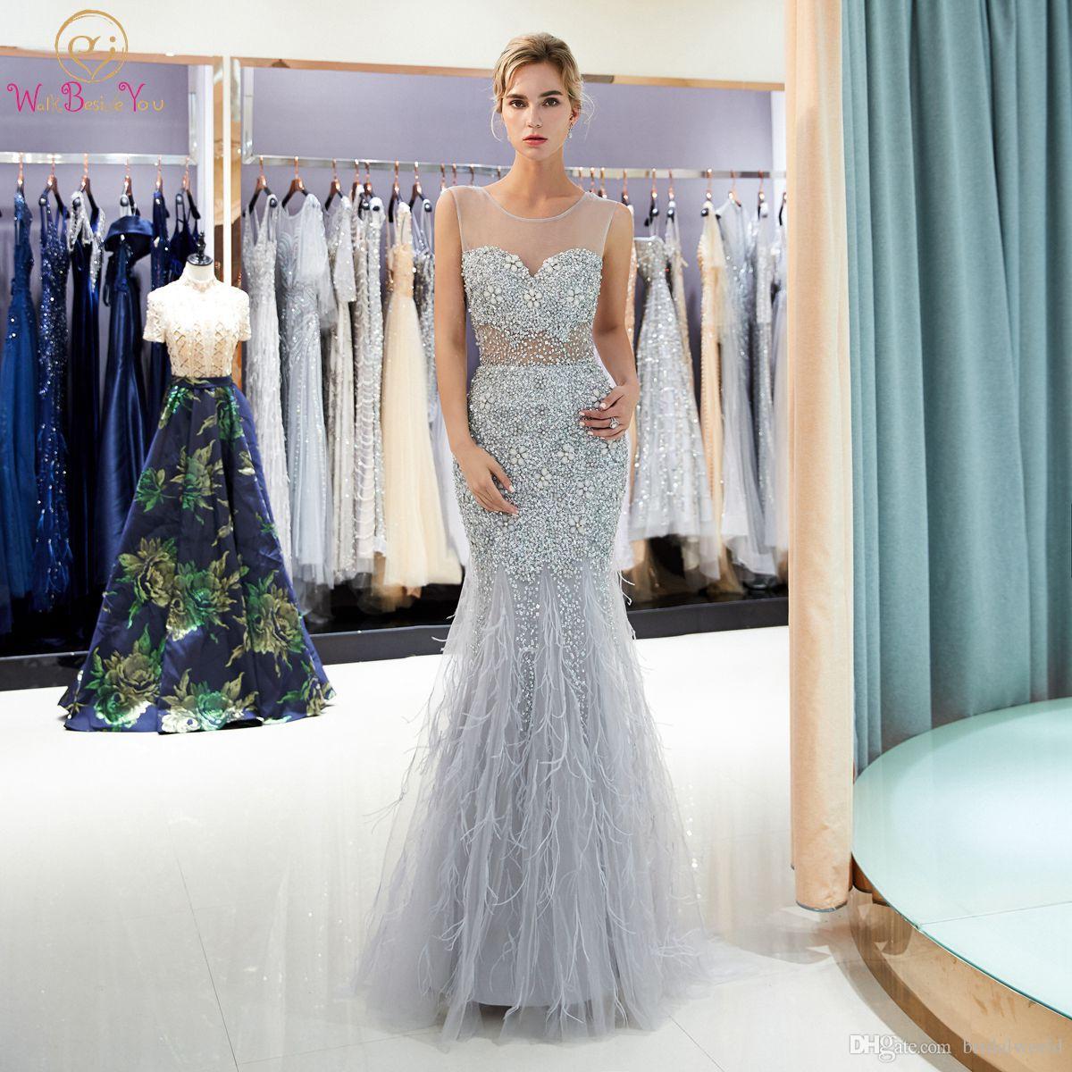 Abiti Cerimonia Queen.Sexy Prom Dresses Abiti Cerimonia Donna Beaded Crystal Sheer Neck