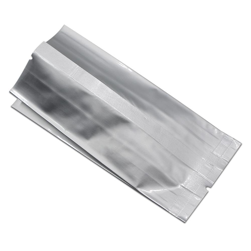 500 Adet Gümüş Mylar Folyo Vakum Paket Çanta Açık Üst Isı-Mühür Saf Alüminyum Folyo Gıda Saklama Torbaları Mutfak için Nem Geçirmez