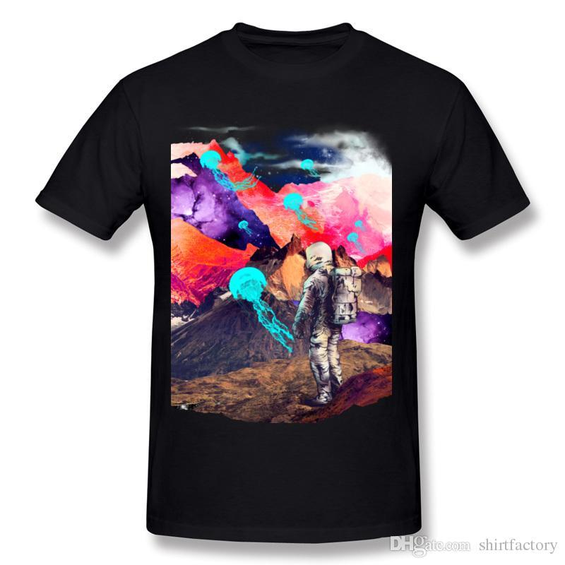 الجملة hombre 100٪ ٪ dreamscape النسيج t-shirt hombre crewneck الأبيض السراويل قميص للرجال حجم كبير مضحك t-shirt
