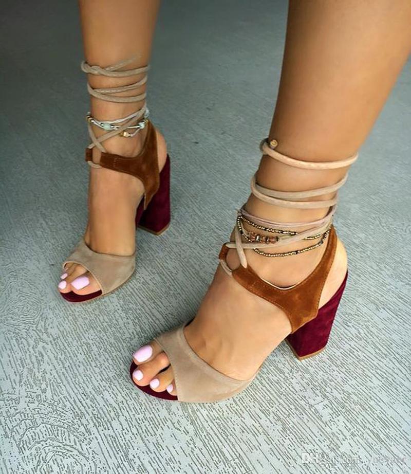 Zandina Simples das Mulheres Sandálias de Salto Alto Patchwork Tornozelo Peep-toe Sapatos de Verão Sexy BFCM Moda Tribunal Sapatos A083