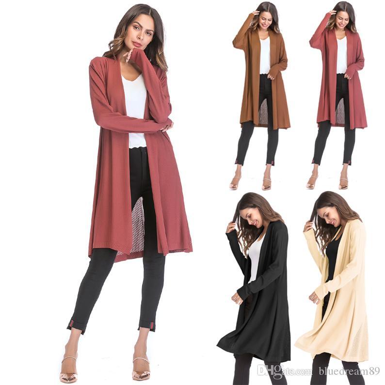 Europe thin women designer coats hollow clothing manteau femme sweater solid color drape cardigan trench coat women sweater