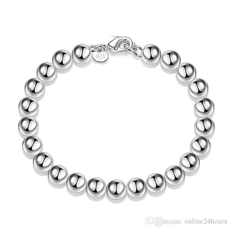 Pulsera plateada plata S925 joyería plateada joyería de moda 8mm Cuentas huecas Pulsera Fábrica Venta al por mayor 218 Nuevo