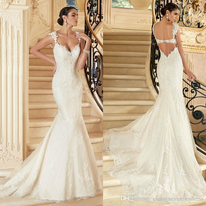 Custom Made Vestido De Novia 2018 White/Ivory Satin Applique Backless Lace Mermaid Wedding Dress Vestido De Casamento