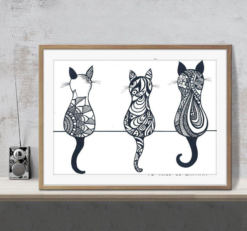 الحيوان 3 القطط حيوانات أليفة فن الرسم الأسود والأبيض طباعة جدار ديكور صور الفن طباعة ديكور المنزل ملصقات Unframe 16 24 36 47 بوصة