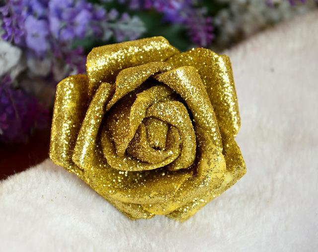 Glitter Foam PE Artificial Flowers Rose Head Real Touch Gorgeous Shiny Home Wedding Party Decorative Fake Flowers 100 PCS/lot