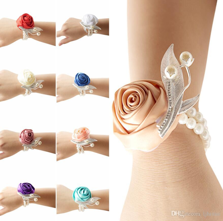 2 Stücke Rose Handgelenk Corsage Brautjungfer Schwestern hand blumen Künstliche Braut Blumen Für Hochzeit Dekoration Braut Prom