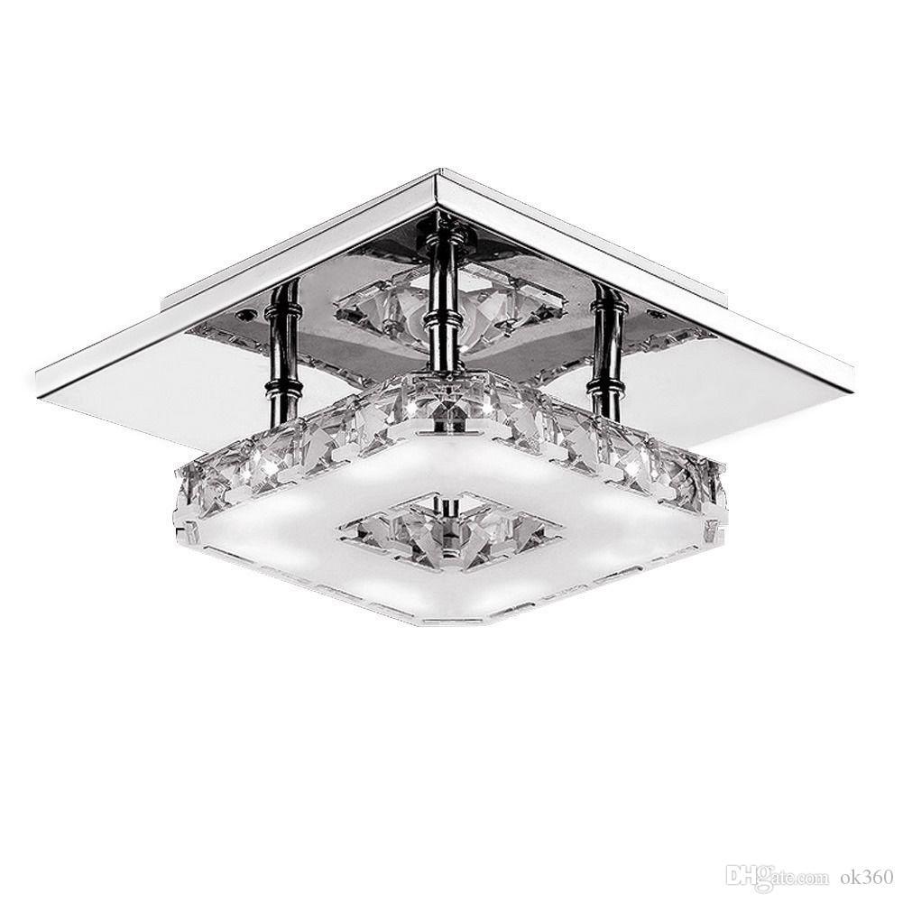 Modern LED Kristal Tavan ışık Avizeler 12W LED Ampul Armatür Aydınlatma Kare Yüzey Koridor Koridor için Kristal Lambası Monteli