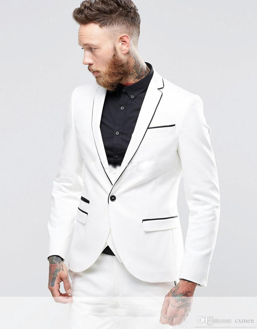 Custom White Men Suits for Wedding Suits Slim Fit Groom Tuxedos 3 Pieces (Jacket+Pants+Vest) Handsome Groomsman Prom Wear Best Man Blazer