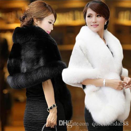 2019 High Quality White&Black Faux Fur Wedding Bridal Wraps Hot Sale Bridal Shawls Shrugs Wedding Party Women Accessories