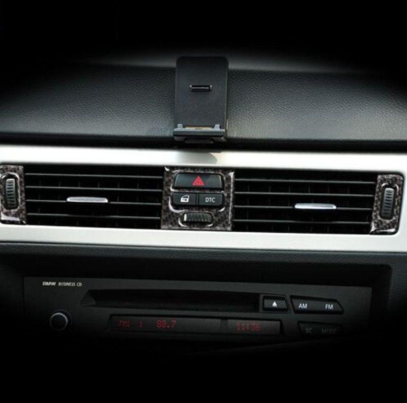 Pour BMW e90 e92 e93 Fibre De Carbone Intérieur Central Climatiseur Sortie Décoration Cadre Couverture 2005-2012 3 Série Car-style