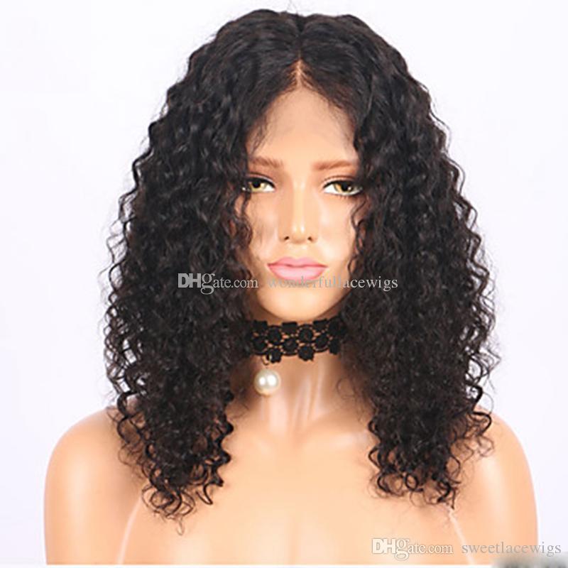 A buon mercato vendite calde sintetico afro riccio crespo parrucca anteriore del merletto resistente al calore naturale nero capelli corti taglio donne parrucche in magazzino