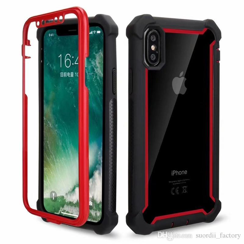 Hibrid Defender Kılıf 1Clear Akrilik Ön Arka Silikon Koruyucu Kapak iPhone 11 max 2019 Xr 8 pro Artı galaksi Not 10 artı A10S 2 için
