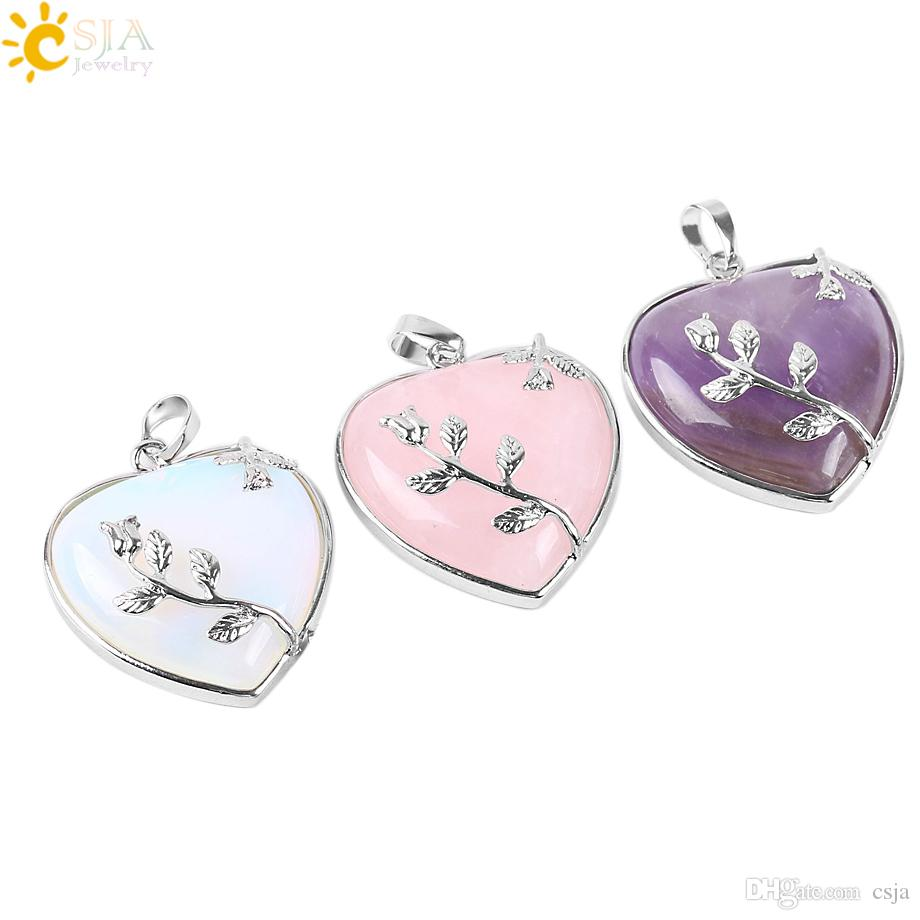 CSJA Natural Stone Jewelry New Arrival Rose Flower Pendant Leaf Necklace Copper Real Love Heart Gemstone Crystal Jewellery for Girl E073 A