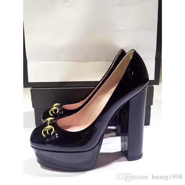 Европейские и американские дамы воловьей кожи туфли на высоком каблуке высокого качества мода высокого класса бренд дизайнер дамы толстые каблуки обувь