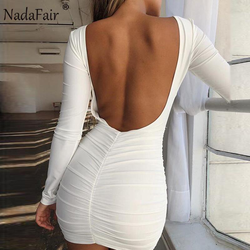 Nadafair Backless С Длинным Рукавом Wrap Bodycon Low Cut Sexy Club Dress Женщины Белый Черный Мини-Платье Партии C18111901