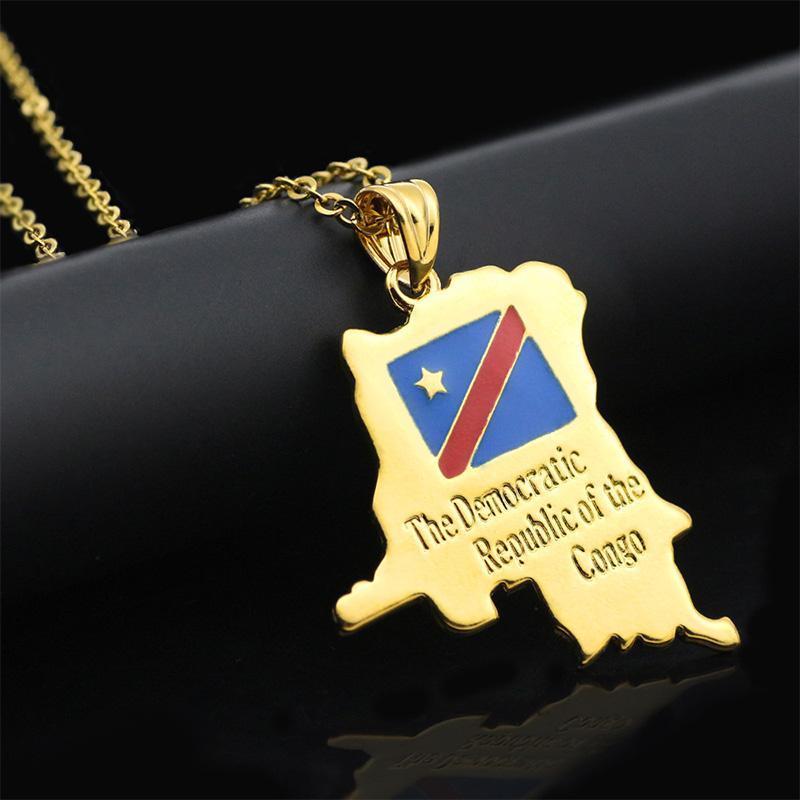 WEIYU Repubblica Democratica del Congo Mappa Collana ciondolo piccolo in oro colore DRC gioielli per donne ragazza collana gioielli regalo