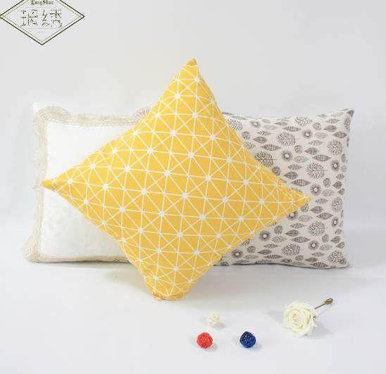 1 Pcs 45 cm Carré Maison Décoratif Jaune Géométrique Coton Lin Taie d'oreiller Taie d'oreiller