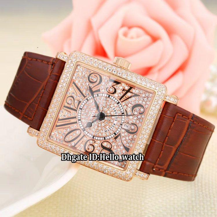 Mode 36mm Date LADIES'COLLECTION Master Square 6002 M QZ V D CD Rotgold Diamant Zifferblatt Schweizer Quarz Damenuhr Lederband Lady Watch