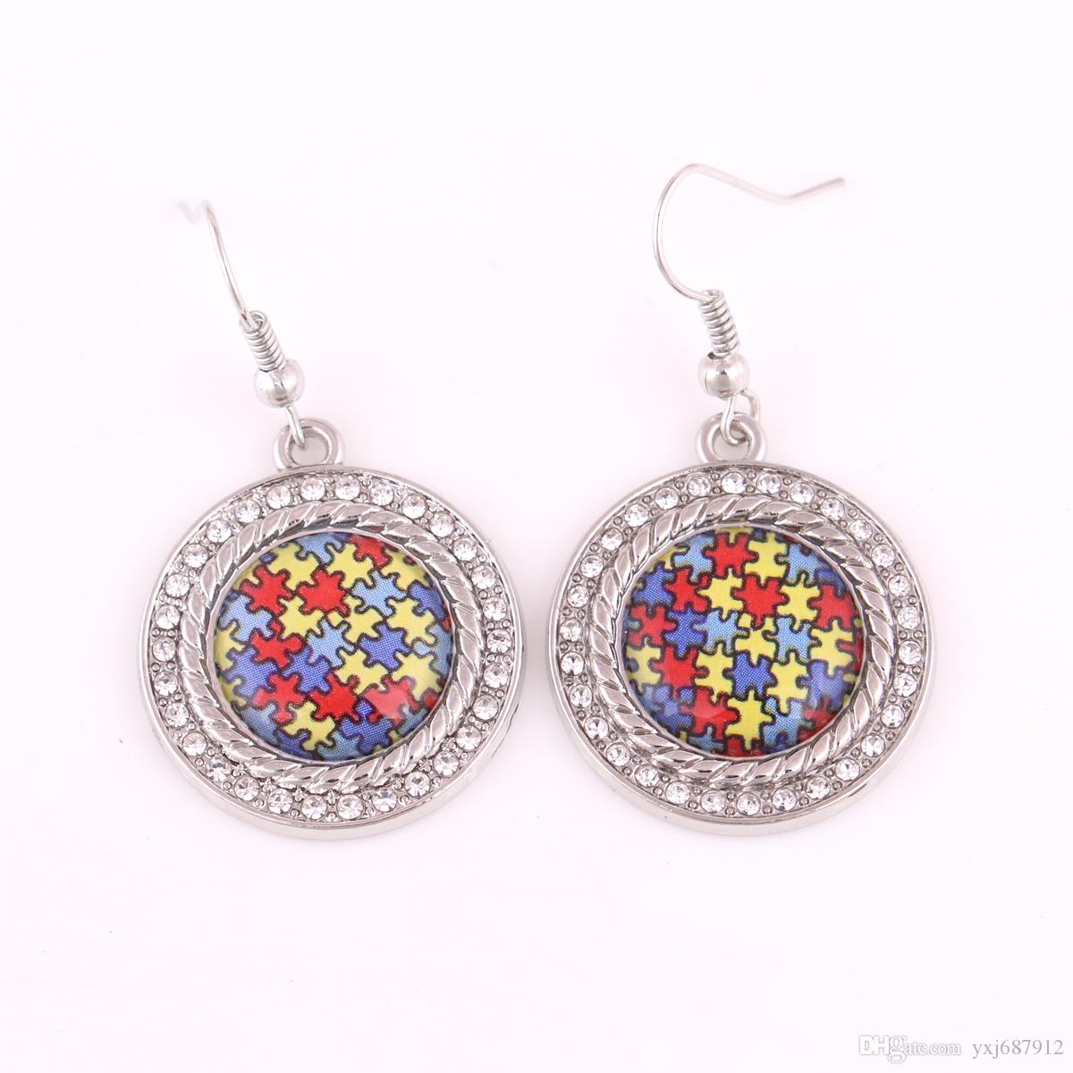 New Arrival Autism Awareness Hope Crystal Round Charm With Holes Jigsaw Puzzle Piece Crystal Earrings Best Gift