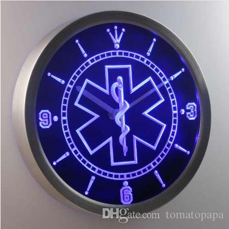nc0088 EMS خدمات طبية مسعفة النيون الصمام ساعة الحائط