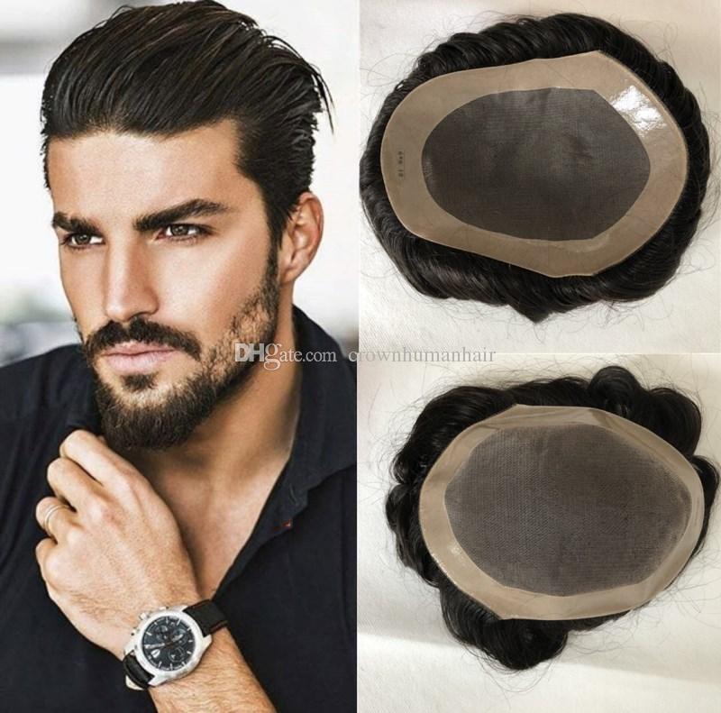 100% capelli umani Mens Toupee Mono Lace con Npu in giro Toupees for Men Sistema di sostituzione Natural Hairline Free Style Onda parrucchino