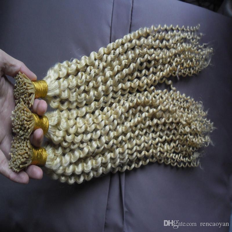 1g / Fios Eu Dedo Extensão Do Cabelo Extensões de Cabelo Humano Queratina Bond 300g Remy Duplo Desenhado Eu Dedo Extensão Do Cabelo Humano kinky encaracolado