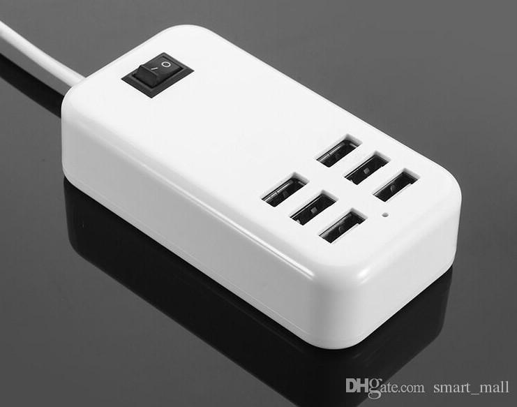 Universal EU / US / UK Stecker AC 5 V 6A 30 Watt 6 Port USB Reise Ladegerät Adapter für iPhone für alle Smart Android-Tablets LLFA