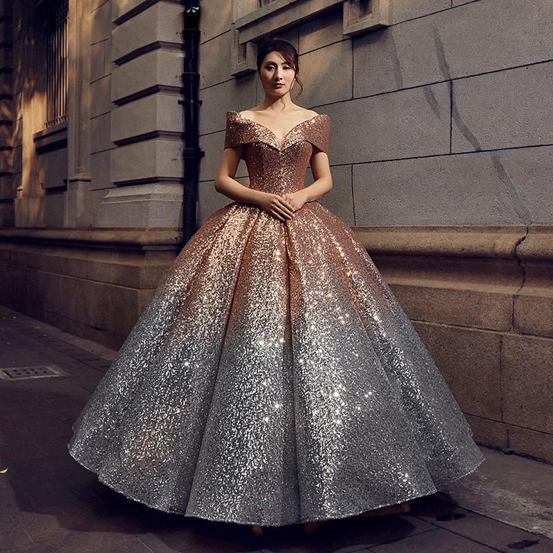 Vintage Royal Lady Bunte Bateau Hochzeitskleid 6 Arten Allmähliche Änderung Farben Pailletten Bling Kleider Braut Hochzeit Kleid Kleid D31