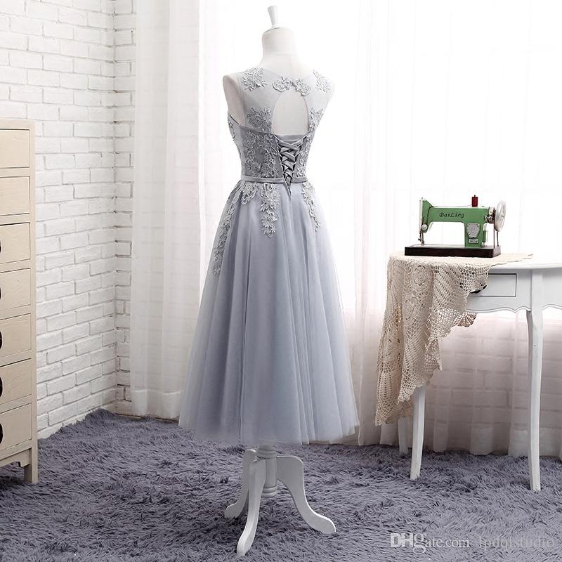 Light Gray Knee Length Wedding Mother Of The Bride Dresses Lace Tulle Gown
