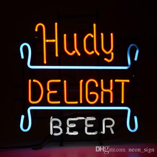 """Hudy Delight Beer Neon Sign Custom Hand-crafted Real Glass Tube Bar KTV Club Pub Store Restaurant Motel Advertise Display Neon Signs 16""""X16"""""""