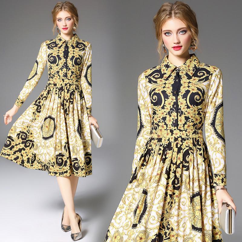 2020 nouvelle robe de soirée Automne Hiver Mode Vintage européenne Imprimer Chemise à manches longues robes pour femmes