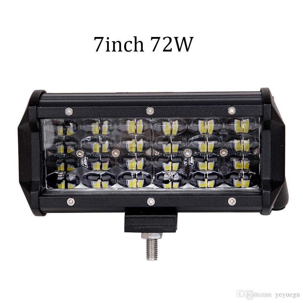 ECAHAYAKU 2PCS 7 인치 72W 자동차 LED 라이트 바 OFF ROAD SUV 4X4 WORK LIGHT LAMP FOR CAR 트랙터 보트 군사 장비 12V 24V