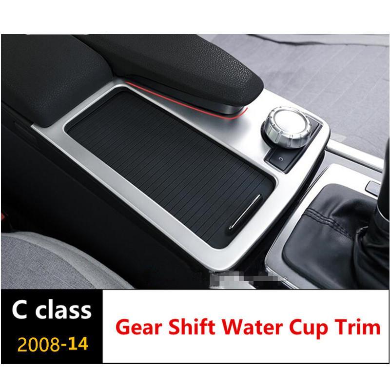 Центральная консоль переключения передач чашка воды панель украшения крышка отделка из нержавеющей стали для Mercedes Benz C class W204 2008-14