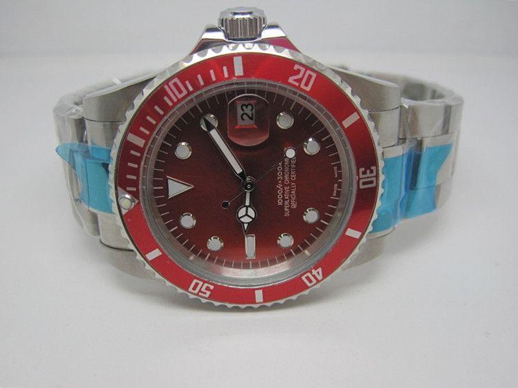 고품질 기계식 자동 시계 고급 시계 남자 시계 망 손목 시계 빨간색 얼굴 r08