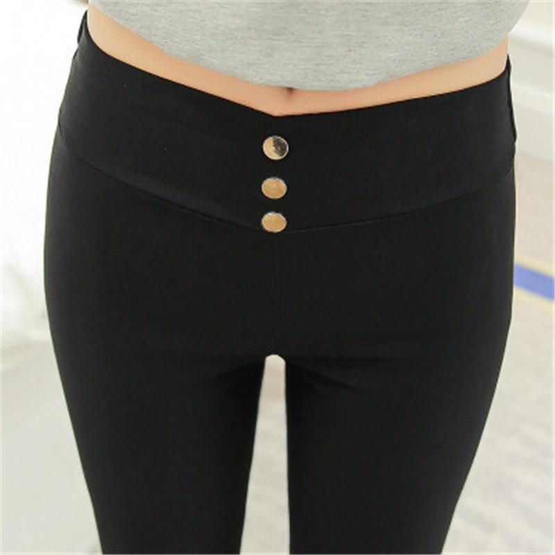 Женщины Эластичные брюки весна осень Европа Россия Трендовые девушки стройные высокой талии длинные случайные брюки черные вязаные хлопчатобумажных Металлические кнопки Блестки