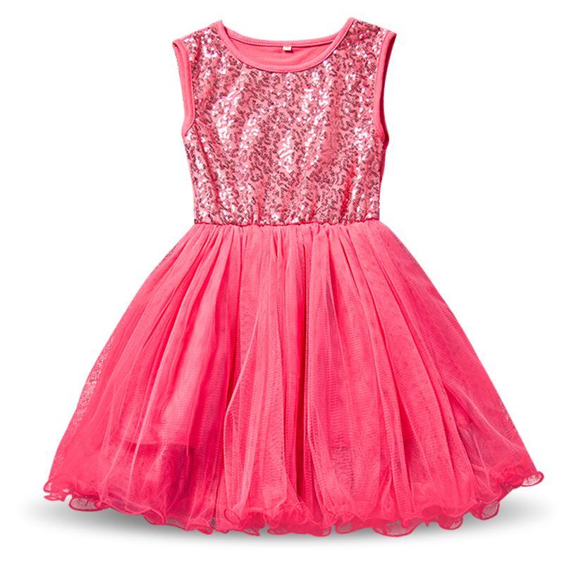 Summer Girl Lentejuelas Robe Fille Enfant Kids Birthday Outfits Tulle Niños Ropa para niñas pequeñas Baby Kids School Dress Vestidos