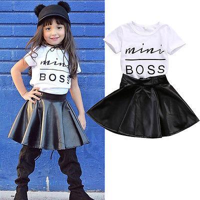 2017 Sommer-Kleid-Baby-Mädchen-Kind-beiläufige Mini Chef-T-Shirt + Faux-Leder-Outfits Mädchen Kleidung 2pcs