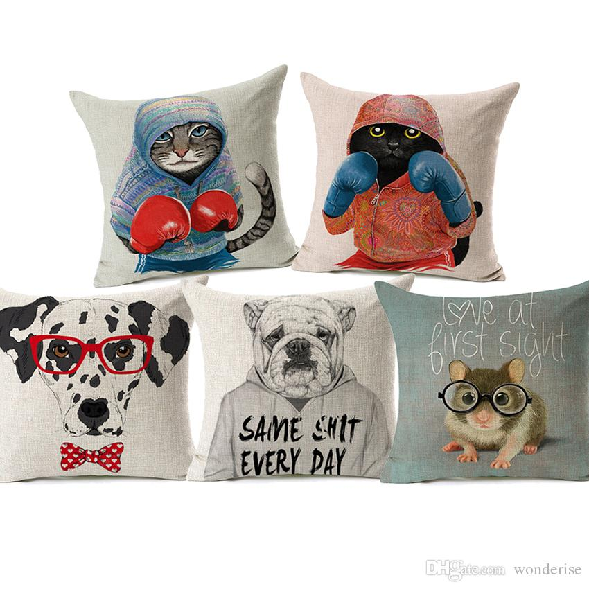 16 Styles Lovely Animals Cushion Covers Bulldog Dalmatian Dog Boxing Cat Mouse Chipmunk Deer Cushion Cover Decorative Linen Pillow Case