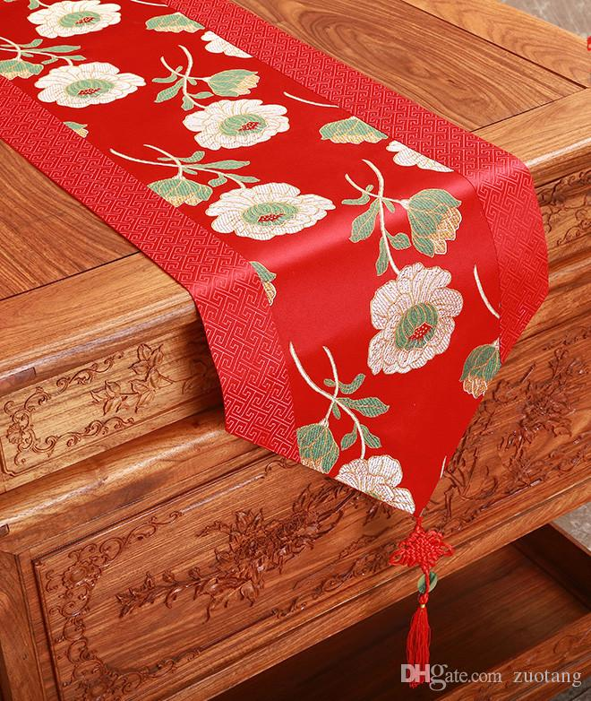 Fancy Vintage Chinese knot Silk Satin Table Runner Wedding Rectangle Damask Fabric Table Cloth Christmas Dining Table Mat 200x33 cm
