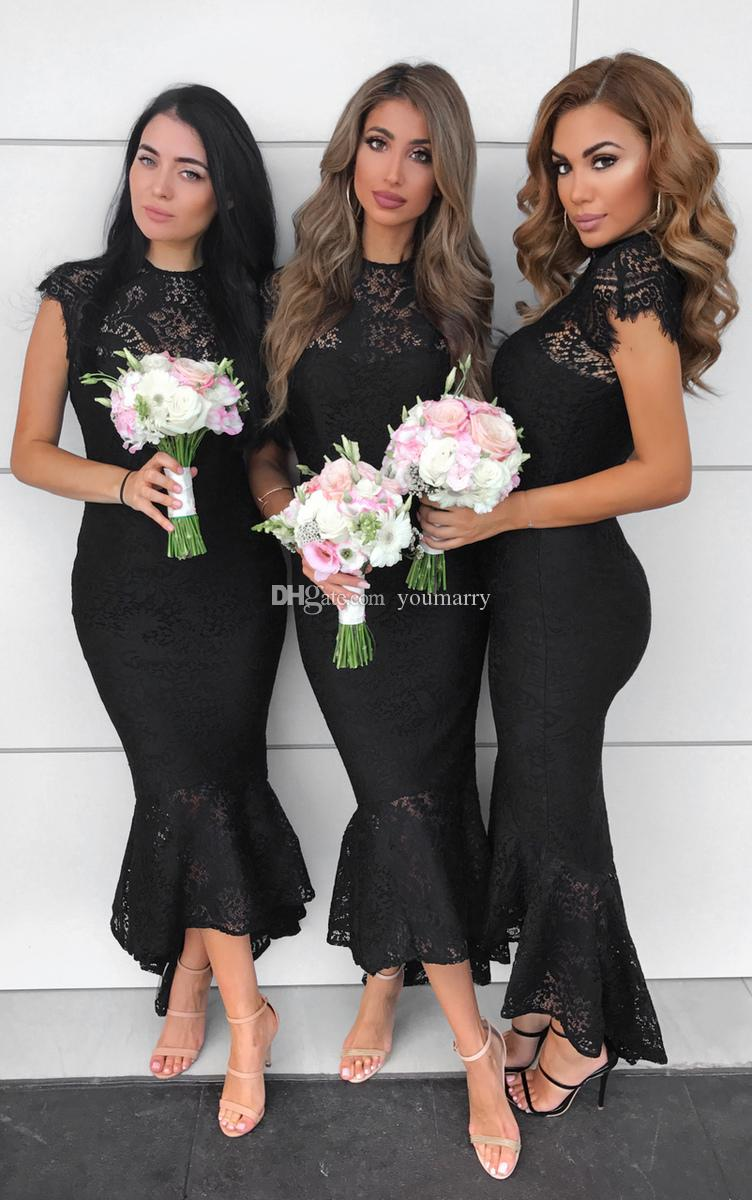 2019 Black Lace Bridesmaid Dresses High Neck Empire Lace Beach Boho Maid Of Honor Bridesmaids Gowns