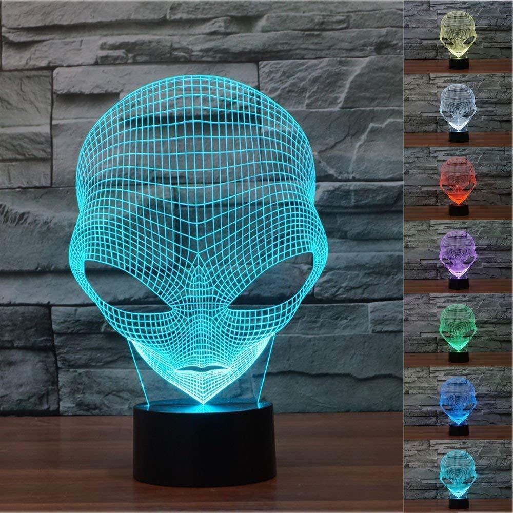 3D The Martians Night Light Touch Table Desk Illusione ottica Lampade 7 luci che cambiano colore Decorazione della casa Regalo di compleanno di Natale