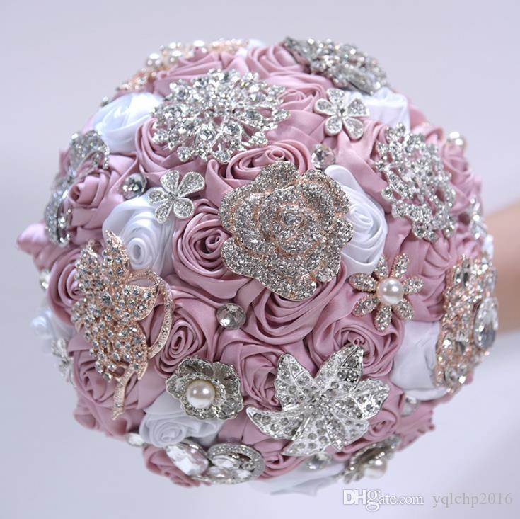 2018 Свадебные принадлежности, Симулятор, Сатиновая роза, цветочная невеста, Ручной букет