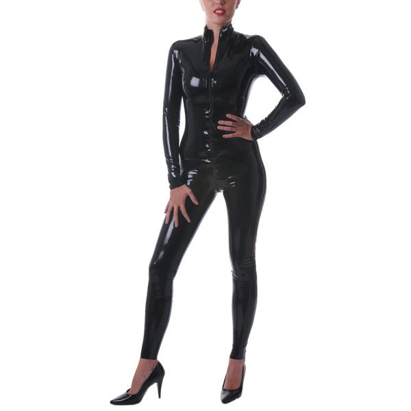 Classical Latex Rubber Catsuit Black Latex Bodysuit Suit Front Zip 0.4MM Thickness
