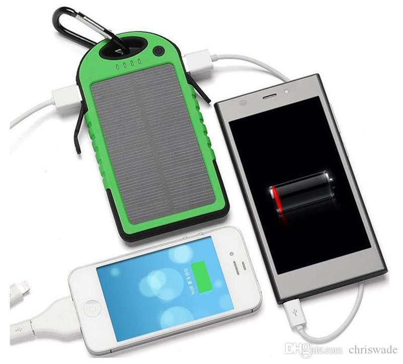 Solar power bank Panel Battery Chargers powerbank solar 5000mAh Solar Charger Waterproof for Smart Phone PAD Tablets Camera Dual USB