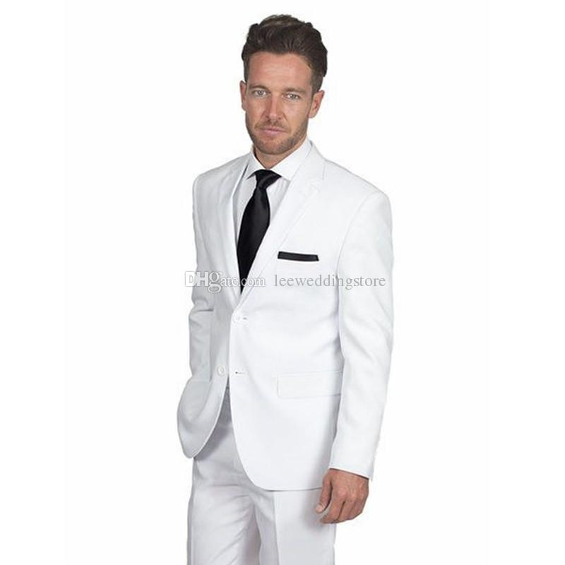 2018 Men Suits White Notched Lapel Slim Fit Wedding Suits For Man Bridegroom Groom Tuxedos 2Piece Custom Formal Blazer Prom Evening Dress